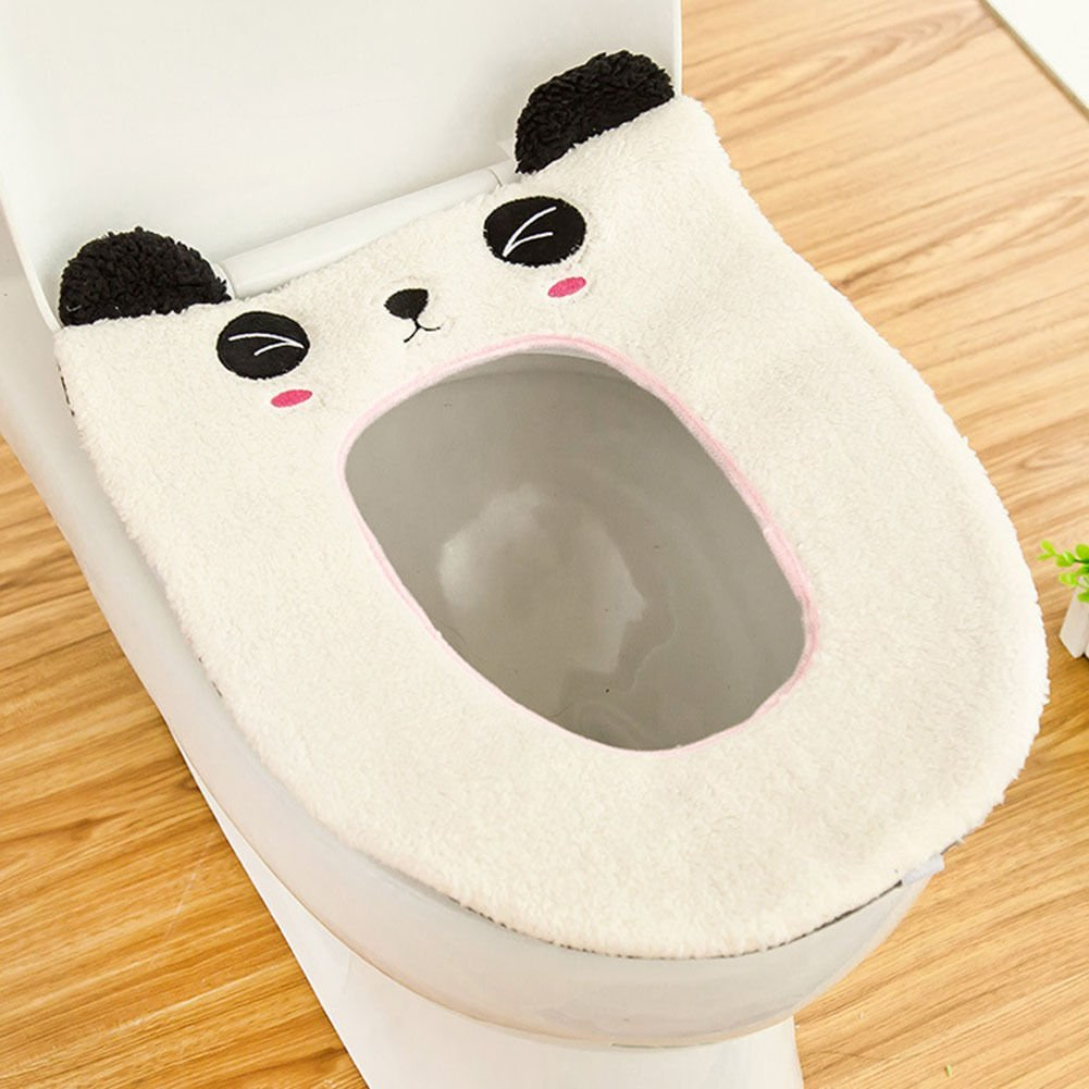 Yosoo Cute Cartoon Bathroom Toilet Seat Cover Soft Warm Washable Velveteen Winter Toilet Seat Warmer Mat Thick Cover Lid Top Closestool Cushion Pad Mat (Panda)