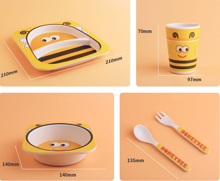 2019 New Product Ideas Children Tableware Feeding Children Plate Bamboo Fiber Animal Salad Children Tableware 5 Sets