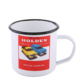 Stainless Steel Silver Rim Of Bulk Enamel Coffee Mugs Sublimation white Logo Printing Metal Enamel Cup