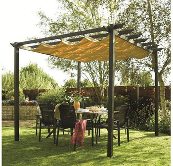 Luxury garden patio aluminum pergola pavilion gazebo with for Motorized screens for patios pricing