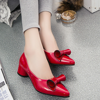 2015 high quality european new design women shoes fashion low heels pointed toe bow lovely shiny ladies work shoes