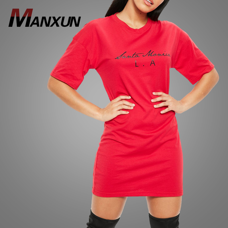 Dongguan Wholesale Red Oversized Oversized Jersey Tshirt Plain Dress Blank Loose T-shirt Dress 2018