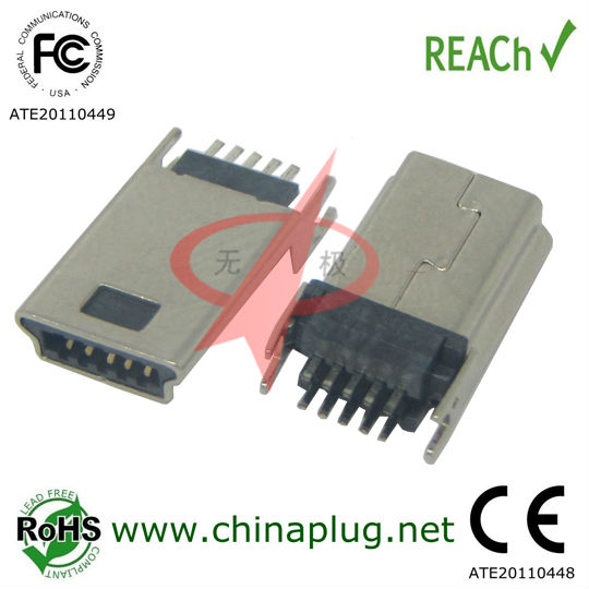LCP Reach 10Pin Lock Type mini usb connector male solder