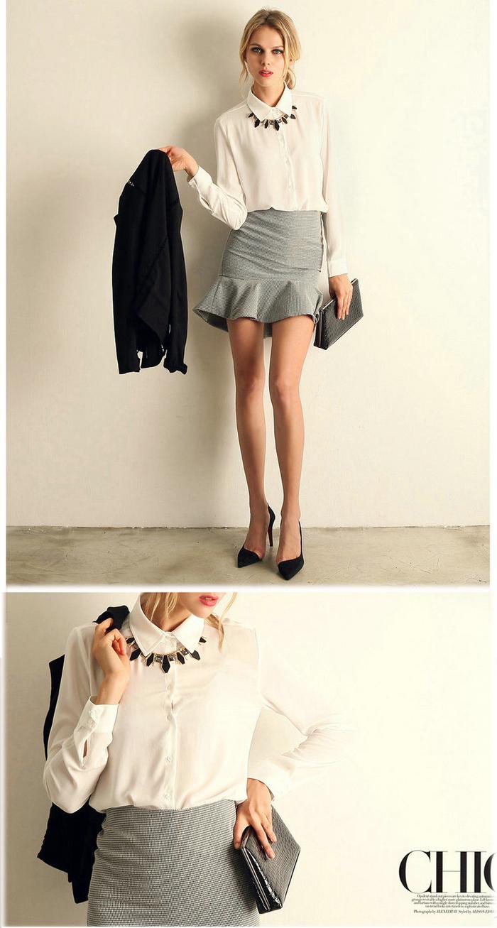 Long Sleeve Blouse,Model Simple Blouse,Women Tops Blouse - Buy ...