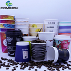 Eco friendly expresso coffee with lid beverage custom brand logo insulated material paper cup