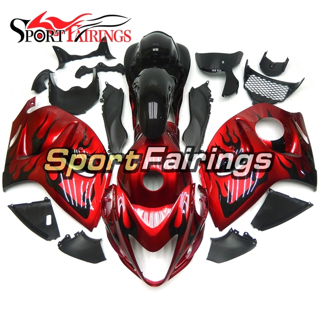 Red Black Flames Injection Fairing Kits For Suzuki GSXR1300 Hayabusa 2008 - 2014 ABS Complete Motorcycle Fairings Body Kits