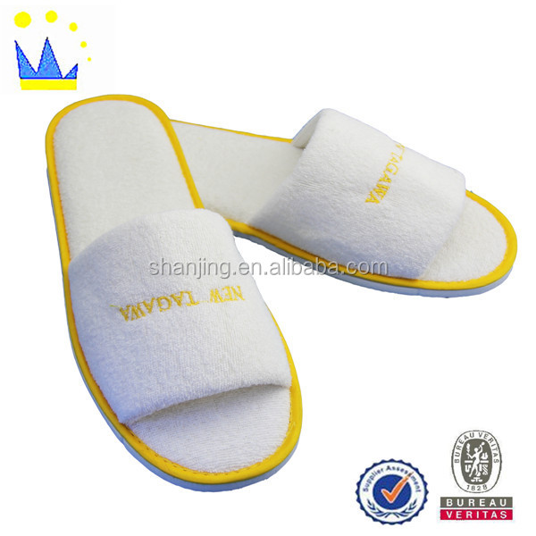 terry embroidery open toe white eco-friendly hotel slippers