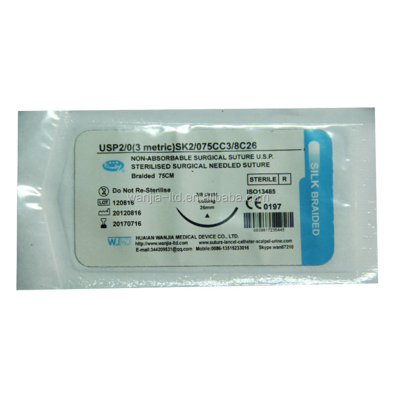 Sterile Silk Surgical Suture Pack with Needle or without Needle