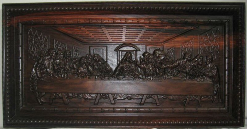 Wood carved last supper