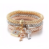 Multilayer Alloy Couple Fashion Jewelry Of Cuff Bracelet Charm With Key And Lock wholesale