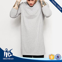 2017 Winter Extend Long Top Quality Casual 240g 95%Cotton 5%Nylon Long Sleeve O-Neck Customised Mens T Shirt