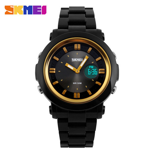 2015 Skmei Sports Watches Men Shock Resist Army Military Watch Relojes Men Wristwatches 50M Waterproof Gold LED Digital Watch