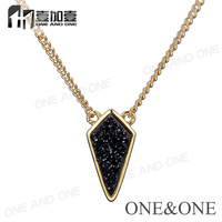 Druzy Pendants Wholesale Black Natural Druzy Necklace God Chain Jewelry