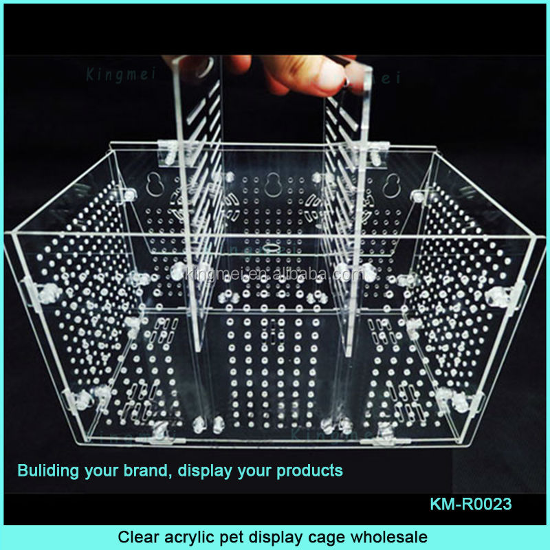 Popular plexiglass pet cage with hinge lid and division
