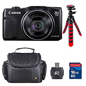 Canon PowerShot SX710 HS - Wi-Fi Enabled (Black) Bundle w/ Commander 16GB High Speed Memory Card + High Speed Memory Card Reader + Deluxe Case + Flexible Tripod + Accessory Kit - International Version