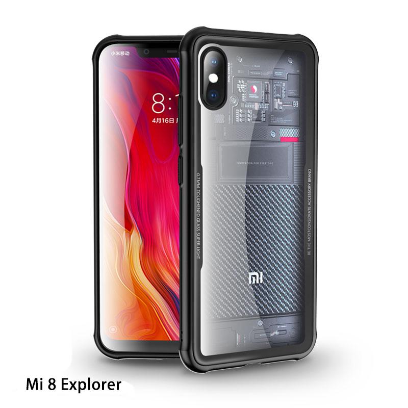 CAFELE Nieuwste Telefoon Accessoires Luxe Mi 8 TPU Clear Gehard Glas Mobiele Telefoon Beschermhoes voor Xiaomi 8 8SE 8 explorer