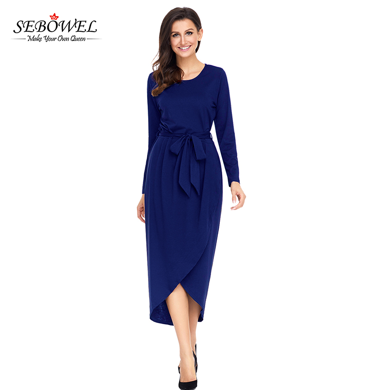 Navy Long Sleeve <strong>Faux</strong> <strong>Wrap</strong> Jersey Woman Dress