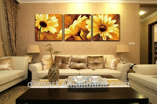 China Home Decor Wholesale Painted Pictures Sunflower Oil Canvas ...