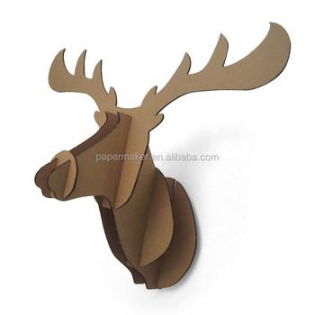 3D Paper Deer Head Wall Decoration Cardboard Animal