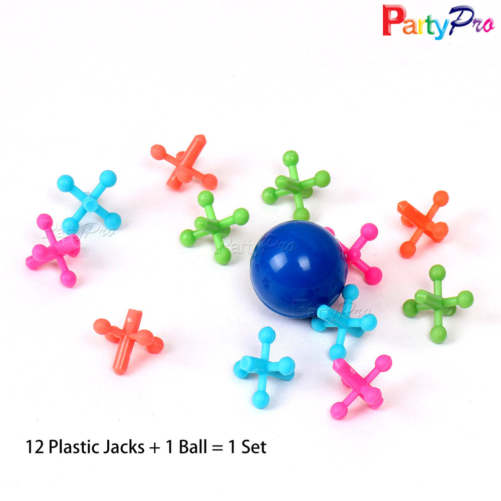 Hot Sale Plastic Beautiful Bounce Back Ball and 12 Jacks Funny Ball and Jacks Set