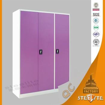 Cold Rolled Steel Bedroom Prefab Steel Garderobe / Portable Wardrobe Closet  / Lockable Large Children Wardrobe