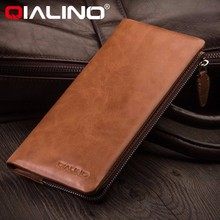 QIALINO top quality luxury genuine leather men's clutch bag, real leather clutch bag for ladies