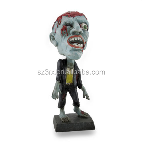 Wholesale Gruesome Missing Eye Bobble Head Zombie Statue Figurine/Custom Horror Bobblehead Figurines Manufacturers