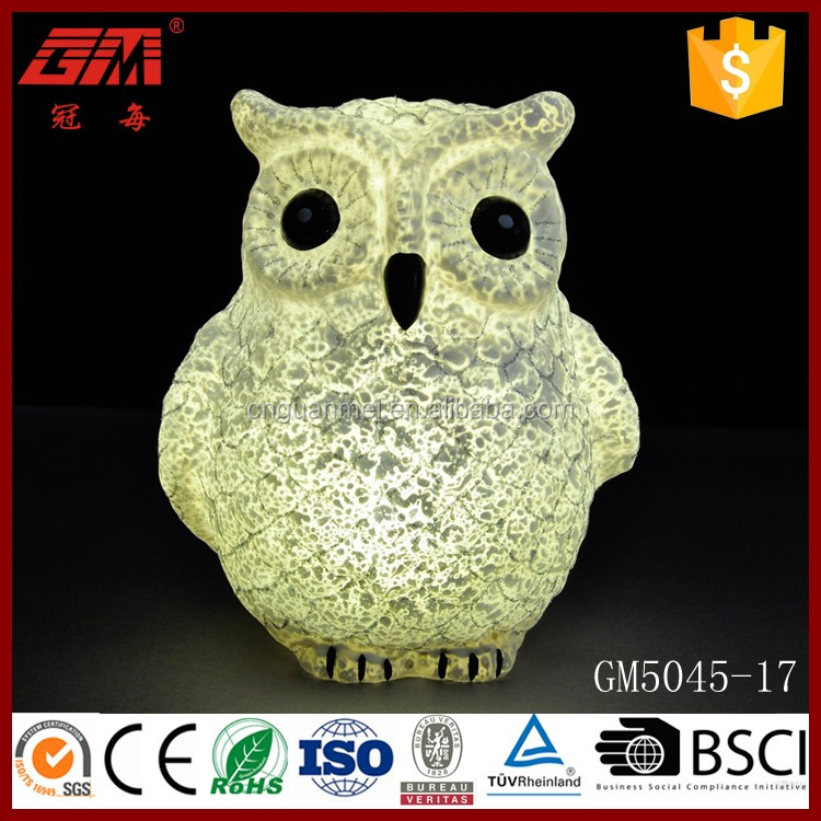 European style LED owl glass crafts for Halloween decoration