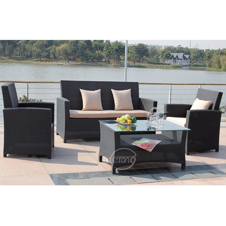 Outdoor Taobao Plastic Garden Sofa Simple Design Rattan Wicke Set Furniture With Waterproof Cushions Wicker