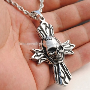 Cross Jewelry manufacturer custom made stainless steel Casting necklace skull religious pendant SCP098
