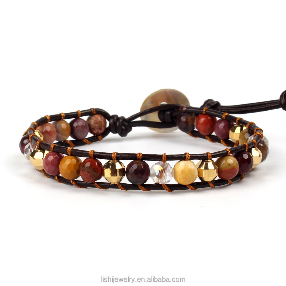 Bohemian handmade women fashion woven agate beads leather adjustable bracelet