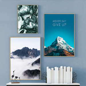 Quotes Never Give UP Paintings on Canvas Nordic Prints and Posters Mountain Decoration Pictures for Living Room