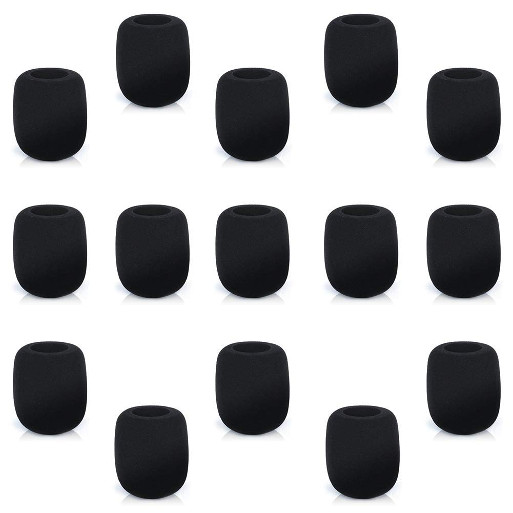 Microphone Windscreen Foam Cover 15 Pack Handheld Stage Mic Cover Foam Set, Black