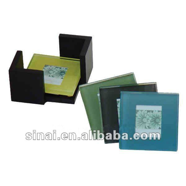 Popular Wedding Favors Photo Frame Glass Coaster with Wooden Holder