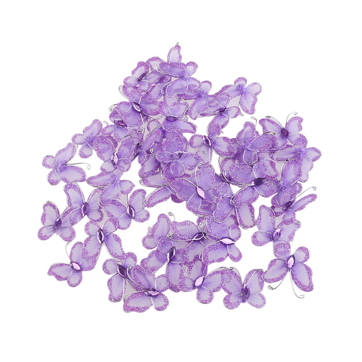 WINOMO Sheer Mesh Wire Glitter Butterfly with Gem - 50pcs (Purple)