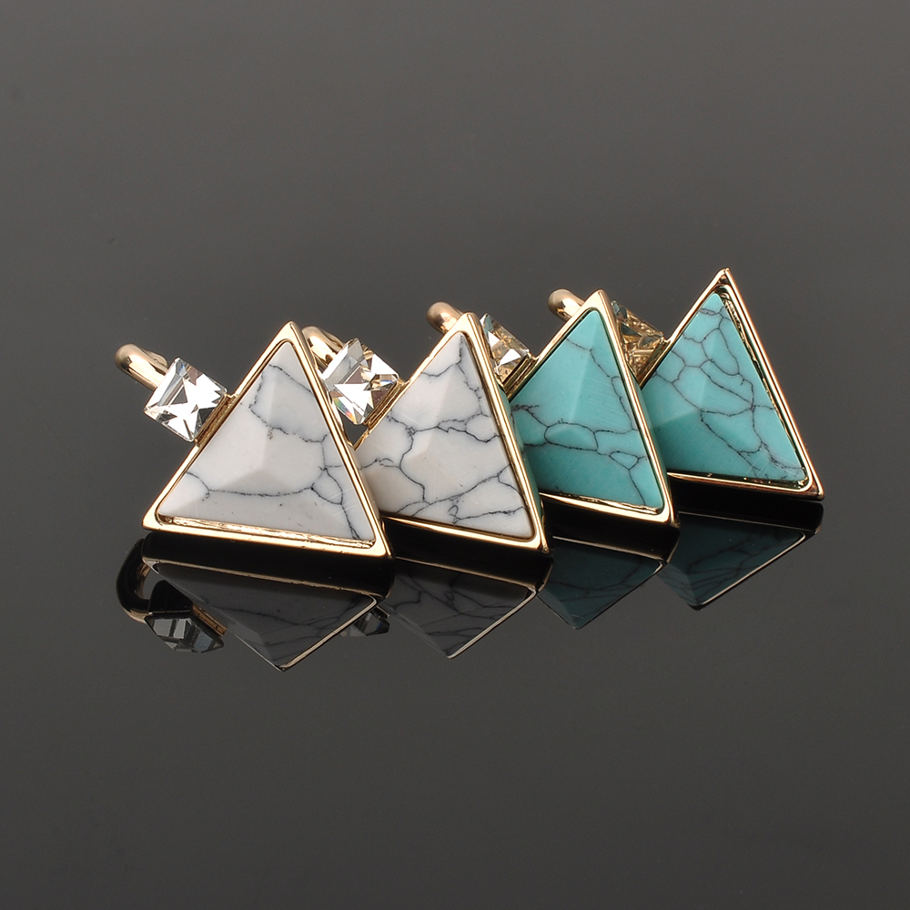 Custom Jewelry Zircon Gold Triangle Shape Turquoise Stone Earring