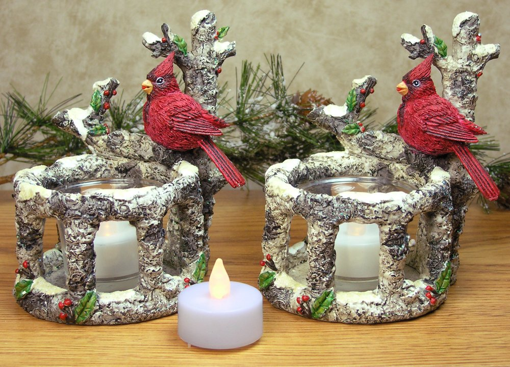 BANBERRY DESIGNS Cardinal Candle Holders - Set of 2 Red Cardinals Sitting on Birch Branches with 2 White Flameless Tealight Candles Included - Cardinal Decorations