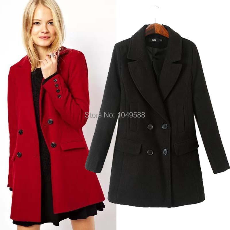 Red pea coat for women