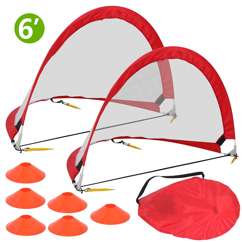 ZENY Portable Pop Up Soccer Goal 6 Feet, 2 Foldable Kids Soccer & Football Training Nets w/Carry Bag