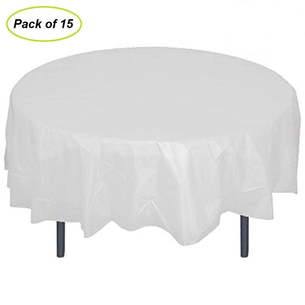 "84"" Plastic Round Tablecloth, JRing 15Pack Disposable Table Cover Reusable for Any Parties/Event (PEVA) (White)"