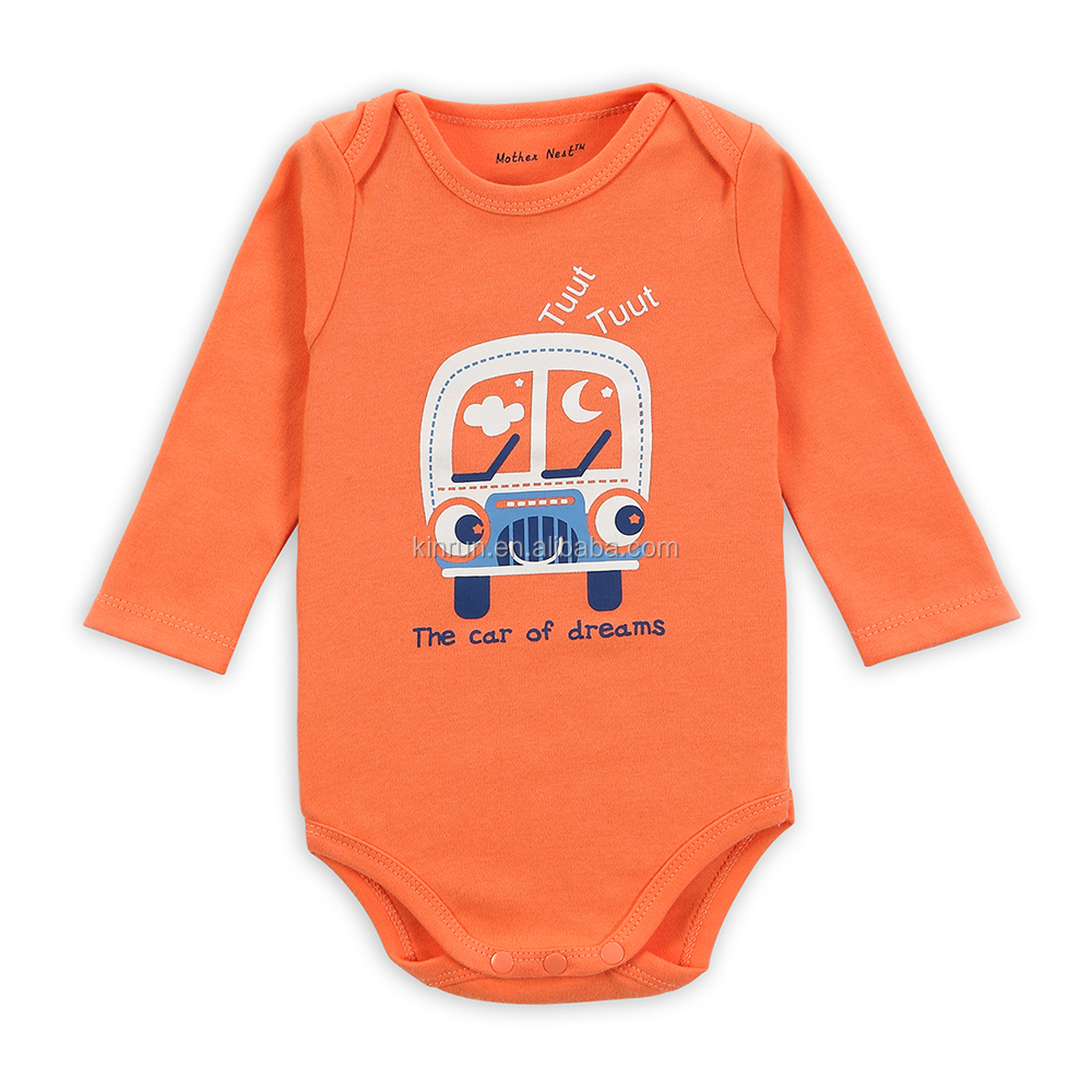 China Export Customized Printed Long Sleeve <strong>Orange</strong> Fall New Born Baby Girl Clothes Romper