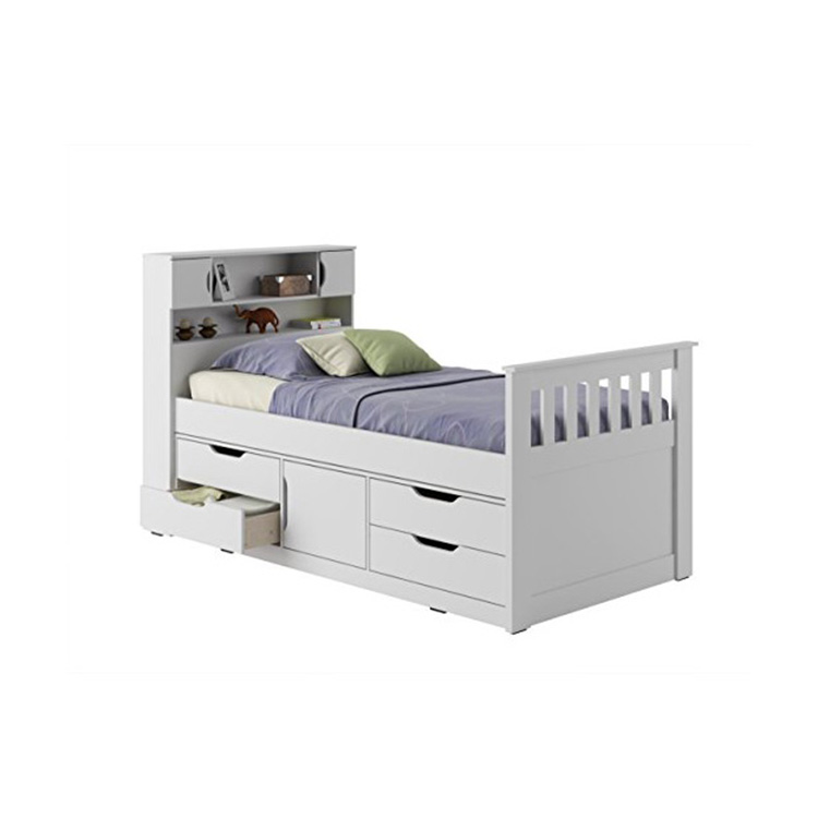 European Style Pine MDF Wooden Storage Bed with Bookcase