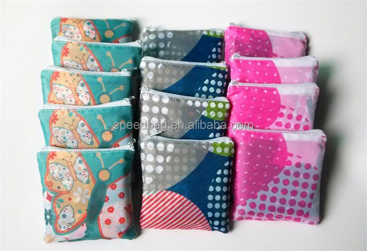 Eco reusable full print polyester folding shopping bag with zipper pouch