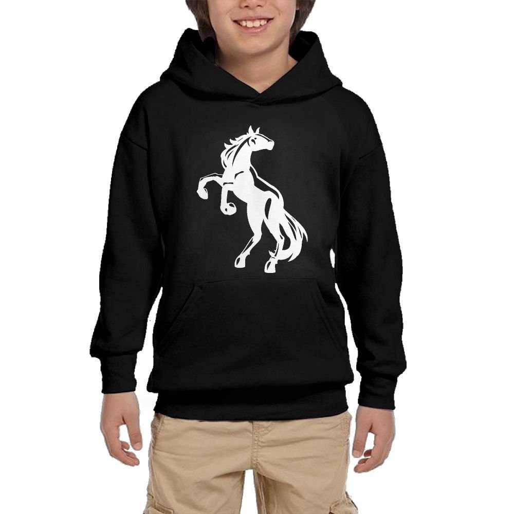 Horse Logo Cartoon Girl Athletic With Pocket Hoodies Graphic Pullover Sweatshirts