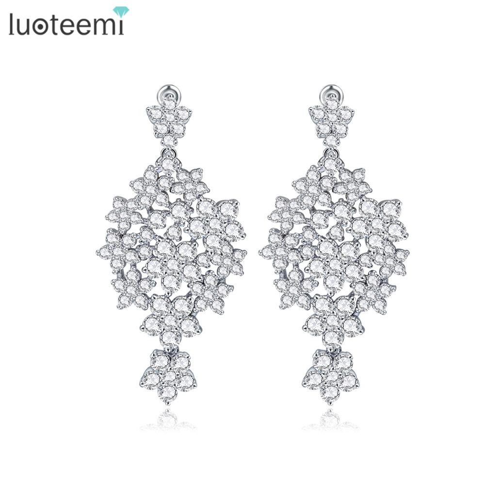 LUOTEEMI Wedding Jewelry Gift Brincos Bijoux Women New Design Sparkly Pure Round Crystal Zircon Paved Bridal Earrings Stud