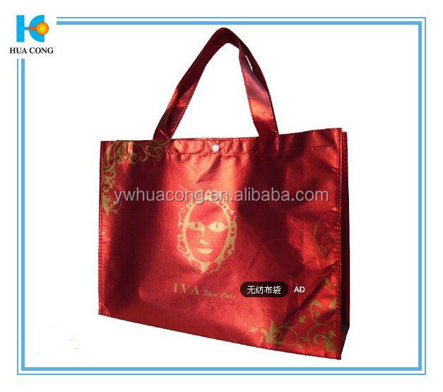 red mentallic gloss customized non woven bag 80 gsm oem production recyclable for 15years