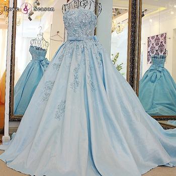 dd1f81cf536fba LS67128 Echte verwijderbare band riem baljurk strapless korte puffy prom  jurken vet avond laatste lange lichtblauw