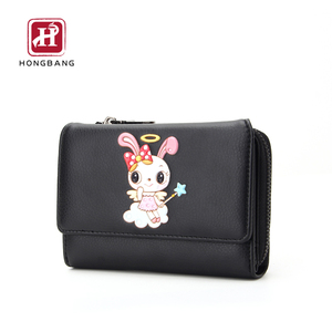 women genuine leather kid wallet trifold wallet for lady