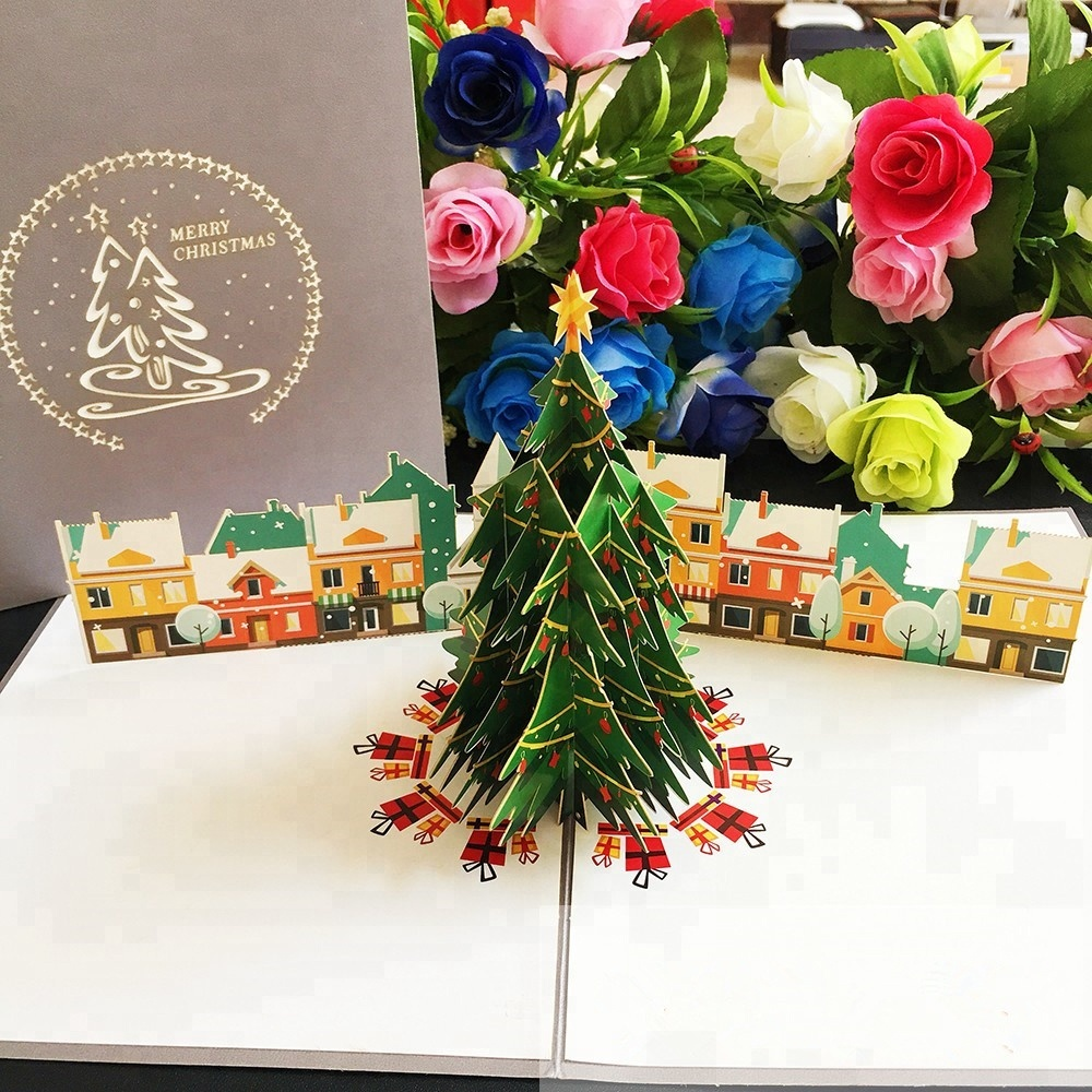 Christmas Greeting Cards Handmade.Handmade Christmas Tree Village 3d Pop Up Christmas Greeting Card Buy Christmas Greeting Cards Pop Up Card Handmade 3d Christmas Cards Product On