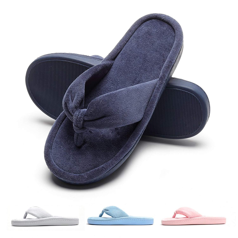 6647c36ad5b Get Quotations · Women s Cozy Spa Thong Flip Flops House Indoor Slippers  Velvet Lining Open Toe Slippers